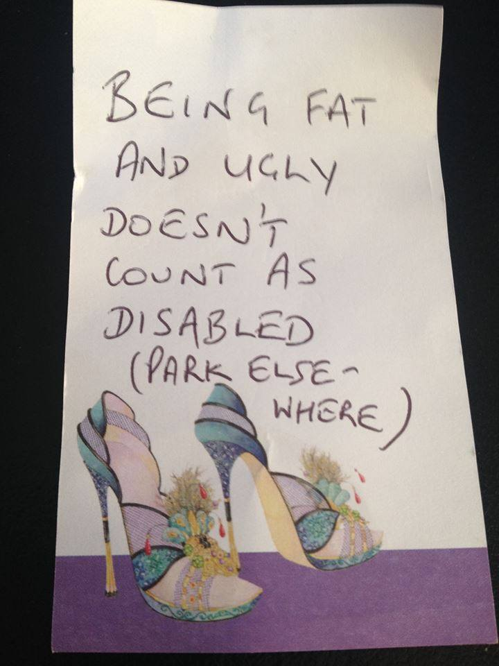 Disabled student 'in disbelief' at abusive message left on car