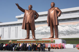 The statues of Kim Il Sung (left) and Kim Jong Il on Mansu Hill in Pyongyang, April 2012 Photo: J. A. de Roo