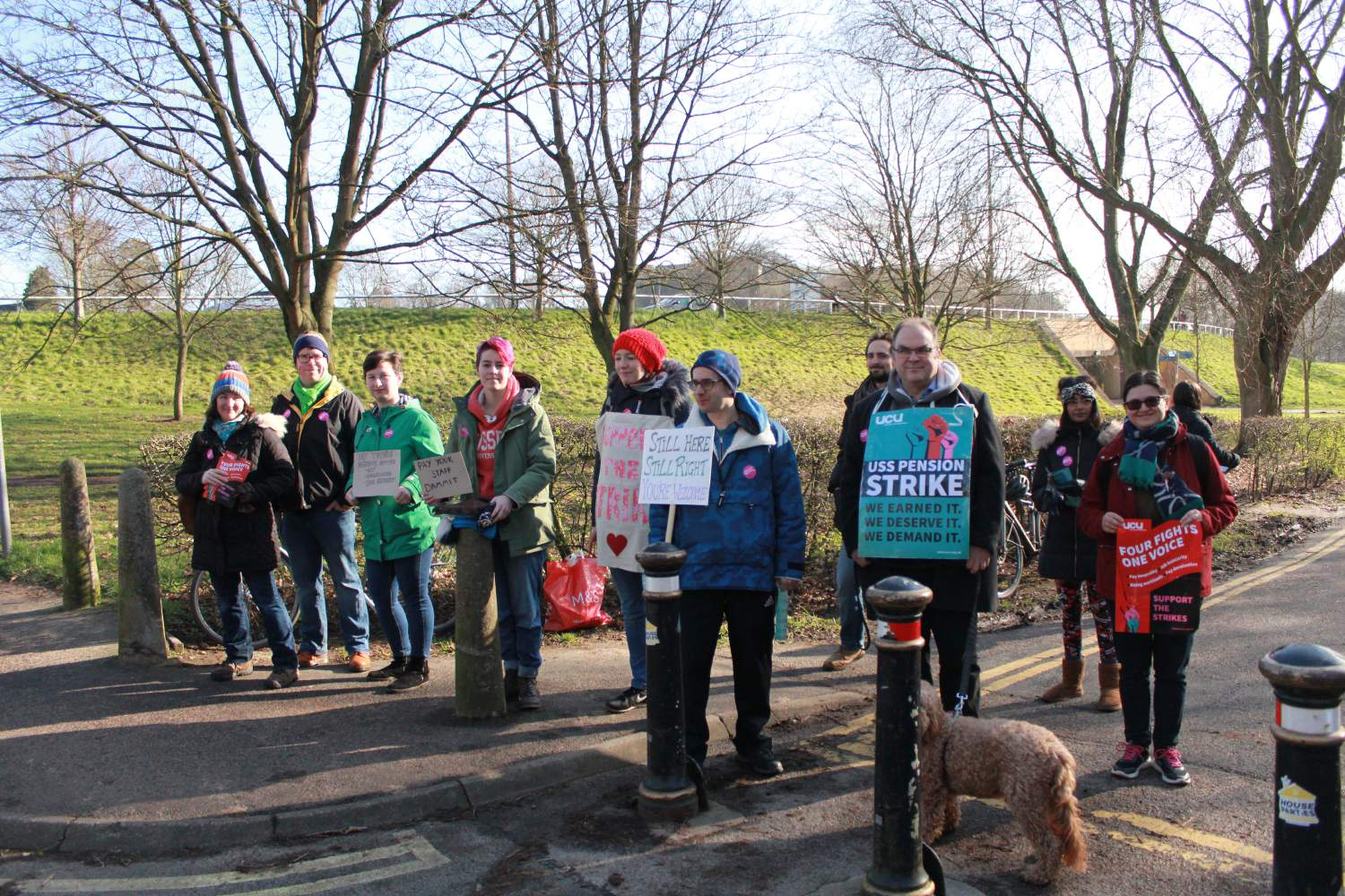 The voices of staff and students rallying on campus picket lines